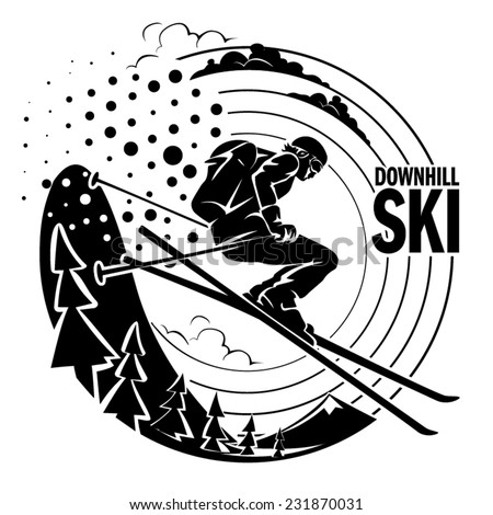Free-rider is skiing downhill along fir trees. Vector illustration. - stock vector