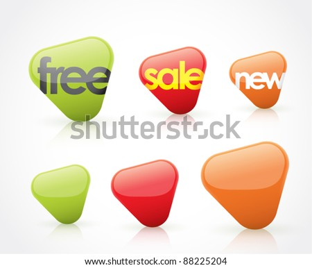 free, sale, new, and blank icons (arrows) - stock vector
