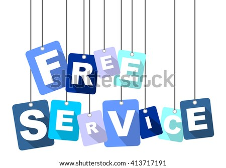 free service, blue vector free service, blue tag free service, flat vector free service, sign free service, design free service, background free service, illustration free service, free service eps10 - stock vector