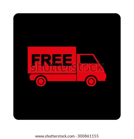 Free shipment icon. Vector style is intensive red and black colors, flat rounded square button on a white background.