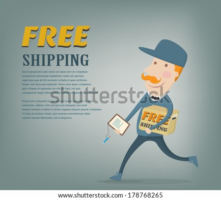 Free shipping. Courier delivering a package shipped for free, space for your text available. Flat style vector illustration - stock vector