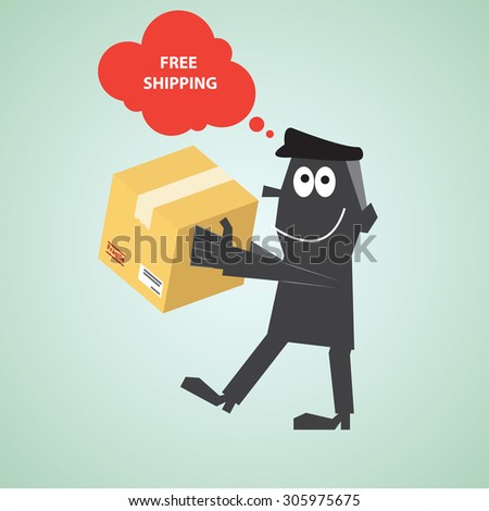 free shipping courier with speech bubble