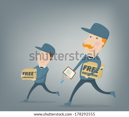 Free shipping. Couriers delivering  packages shipped for free. Flat style vector illustration - stock vector