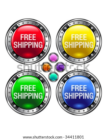 Free shipping icon on round colorful vector buttons suitable for use on websites, in print materials or in advertisements.  Set includes red, yellow, green, and blue versions. - stock vector