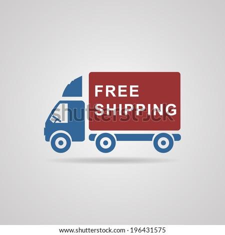 Free shipping icon, vector symbol car carrying cargo - stock vector