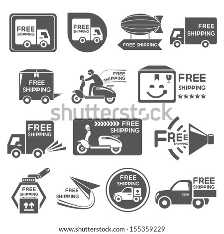 free shipping icons set - stock vector