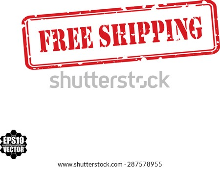 Free shipping red grunge rubber stamp. Vector. - stock vector