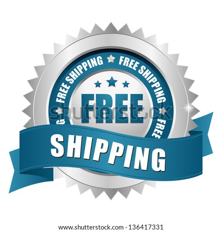 Free shipping seal blue - stock vector