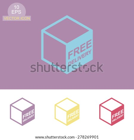 Free shipping vector icon. Free delivery sign on package box. - stock vector