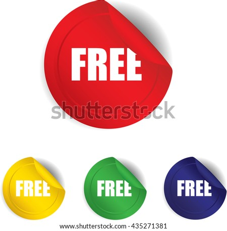 Free sticker, button, label and sign set - vector