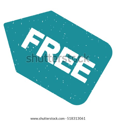 Free Sticker rubber seal stamp watermark. Icon vector symbol with grunge design and corrosion texture. Scratched soft blue ink emblem on a white background.