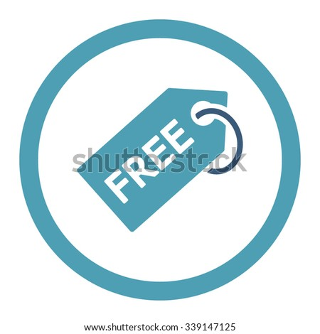 Free Tag vector icon. Style is bicolor flat rounded symbol, cyan and blue colors, rounded angles, white background. - stock vector