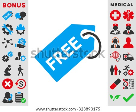 Free Tag vector icon. Style is bicolor flat symbol, blue and gray colors, rounded angles, white background. - stock vector