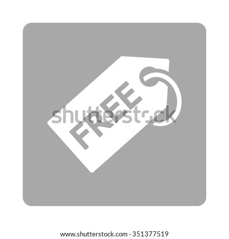 Free Tag vector icon. Style is flat rounded square button, white and silver colors, white background. - stock vector