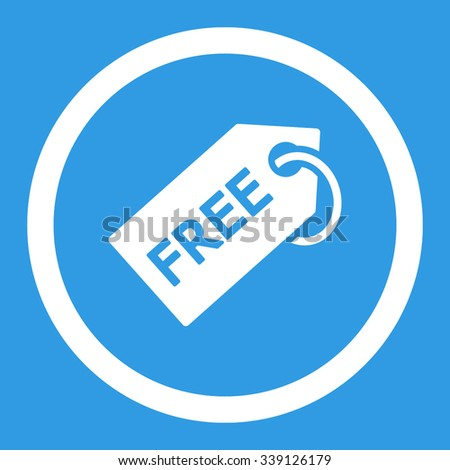 Free Tag vector icon. Style is flat rounded symbol, white color, rounded angles, blue background. - stock vector