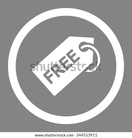 Free Tag vector icon. Style is flat rounded symbol, white color, rounded angles, gray background. - stock vector