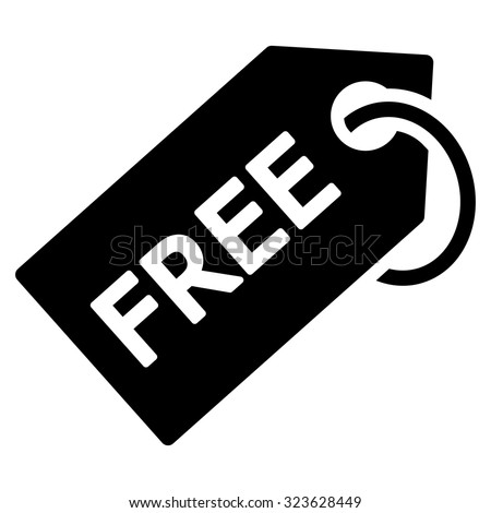 Free Tag vector icon. Style is flat symbol, black color, rounded angles, white background. - stock vector