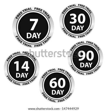 Free trial black labels and stickers. Vector.  - stock vector