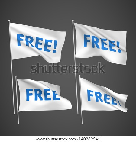 Free - white vector flags. A set of wavy 3D flags created using gradient meshes. EPS 8 vector - stock vector