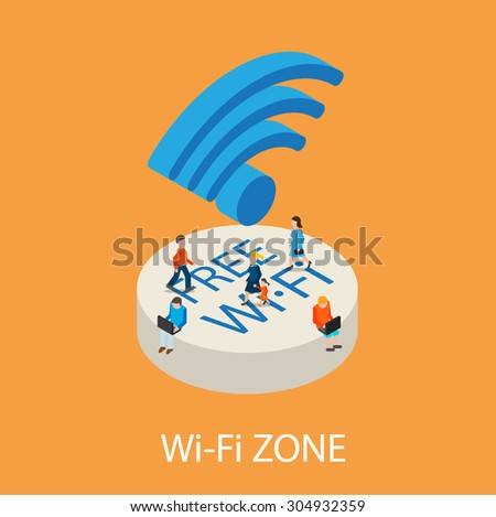 Free Wi-Fi concept with tiny people sitting on podium with WiFi symbol, holding laptops and surfing in the Internet, vector illustration  - stock vector