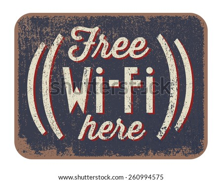 Free Wi-Fi here - stock vector