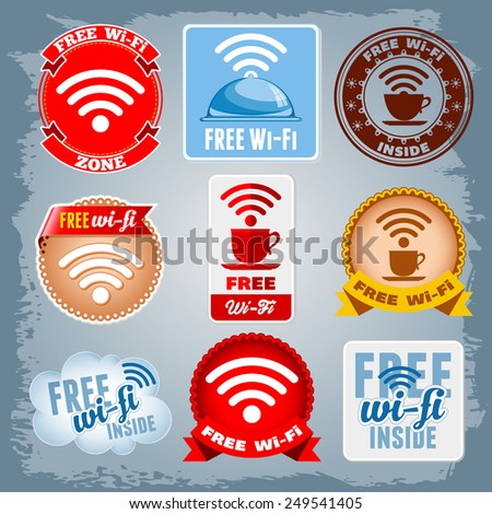 Free Wi-Fi icons set for cafes and public places - stock vector