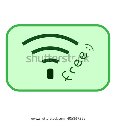 Free wi-fi sign. Wi-fi symbol. Wireless Network icon. Free wi-fi icon. Wi-fi zone, green vector emblem. Color free wi-fi public information sign isolated on green background. Stock vector illustration - stock vector