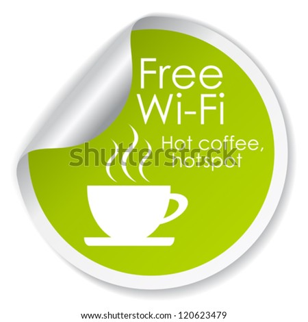 Free wi-fi vector label - stock vector