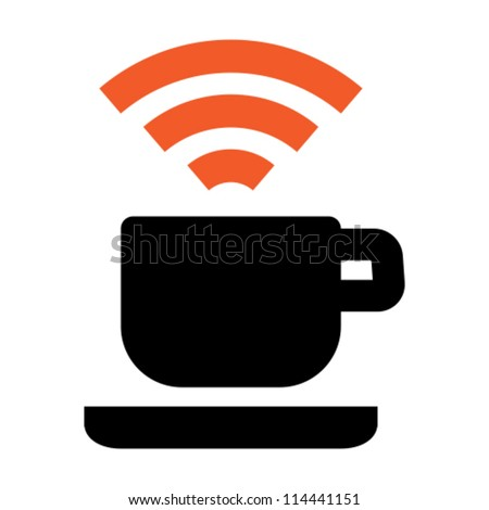 Free Wi-Fi zone icon: cup with wireless signal - stock vector