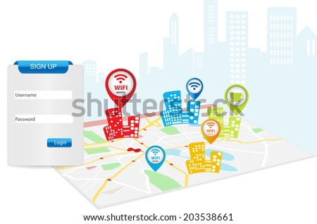 Free wifi area Internet Cafe Templates with login form - stock vector