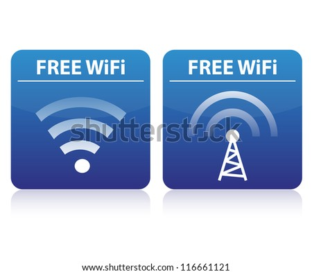 Free wifi buttons - stock vector