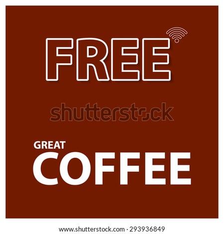 Free wifi coffee shop - stock vector