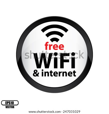 Free Wifi Glossy Sign With Circle Border Black Icon Isolated on White Background - Vector. - stock vector