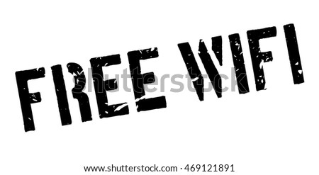 Free Wifi rubber stamp on white. Print, impress, overprint.