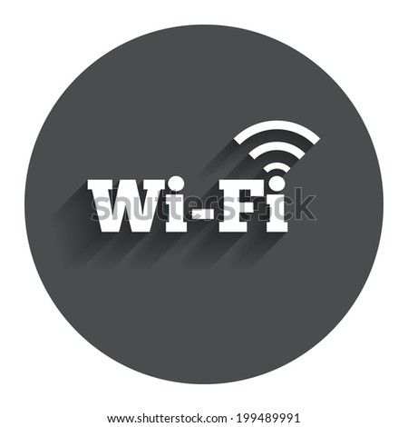 Free wifi sign. Wifi symbol. Wireless Network icon. Wifi zone. Circle flat button with shadow. Modern UI website navigation. Vector - stock vector