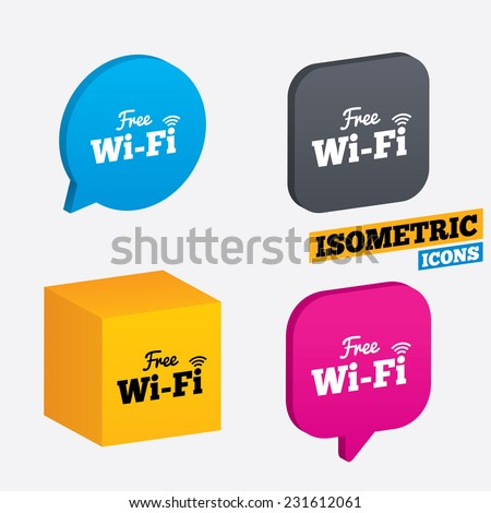 Free wifi sign. Wifi symbol. Wireless Network icon. Wifi zone. Isometric speech bubbles and cube. Rotated icons with edges. Vector - stock vector