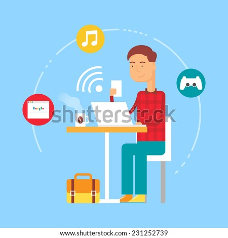 Free wifi zone concept - man sitting at the table and using devices. Vector illustration, flat style  - stock vector