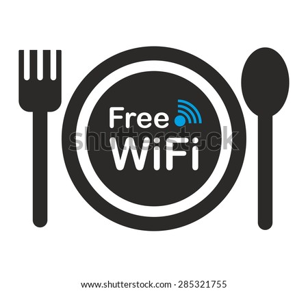 free wifi zone icon concept restaurant stock vector 285321755