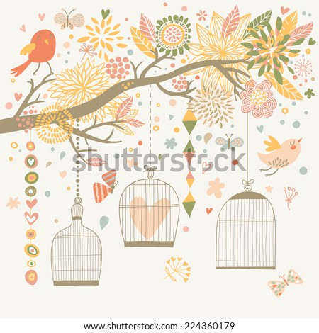 Freedom concept card. Birds out of cages. Romantic floral background in pastel colors