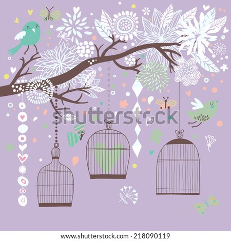 Freedom concept card. Birds out of cages. Romantic floral background in violet colors. Spring birds flying on the branch