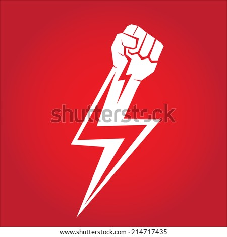 freedom concept. vector fist icon on red. - stock vector