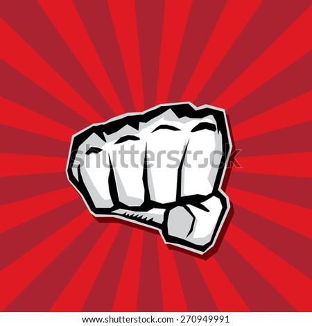 freedom concept. vector fist icon on red.