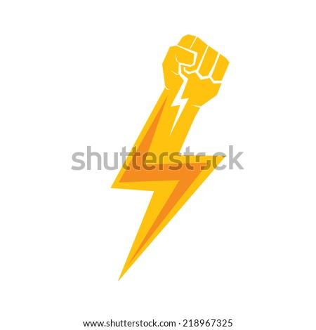 freedom concept. vector orange  fist icon on white. - stock vector