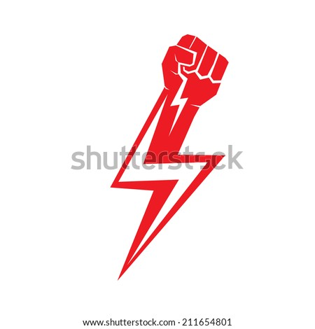 freedom concept. vector red fist icon. - stock vector