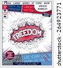 Freedom. Explosion in comic style with lettering and realistic puffs smoke. 3D vector pop art speech bubble - stock photo