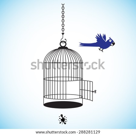 Freedom to parrots! The parrot takes off from a cage. Vector cartoon - stock vector