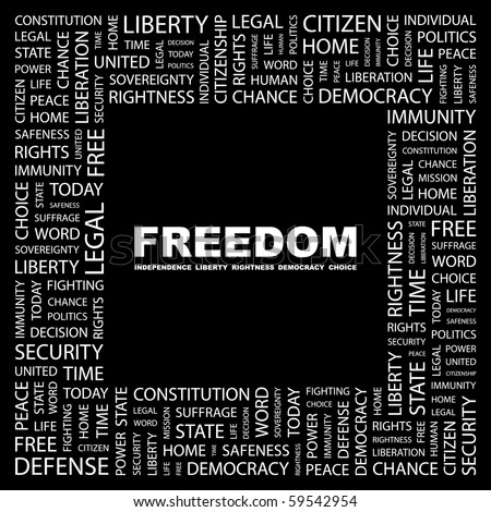 FREEDOM. Word collage on black background. Illustration with different association terms. - stock vector