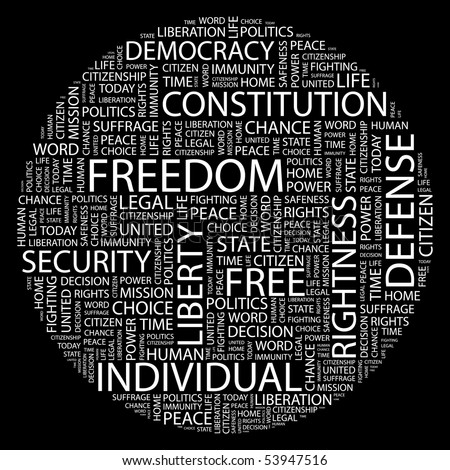 FREEDOM. Word collage on black background. Vector illustration.