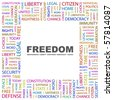 FREEDOM. Word collage on white background. Illustration with different association terms. - stock vector