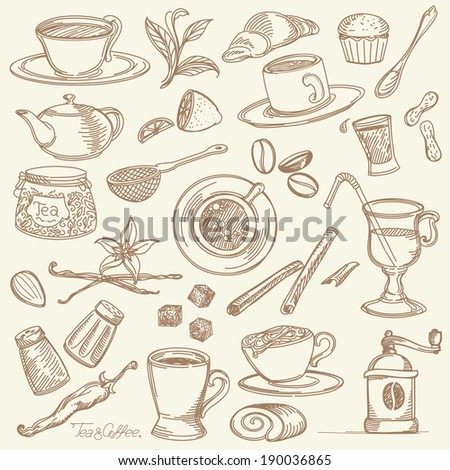 Freehand Design Elements for Coffeehouse and Tea House - stock vector